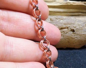 Shiny Copper & Black Stainless Steel Chain Mail Bracelet size 6 1/2