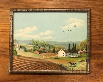 Farm scene Equestrian print