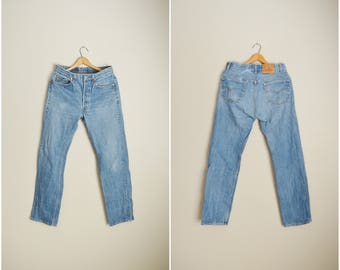 vintage 80s 501 Levi's worn in USA made denim jeans -- 32x31