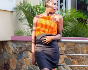 Jehlani African Clothing, African Clothing, Macrame Dress, Orange Macramé and Plain Rayon Fabric