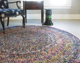 round rug crochet yarn rug 6ft round area rug multi color