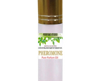 Pheromone Ispired Perfume Oil. Custom Blend Oil with Similar Notes to Pheromone* Perfume for Women. 10ml White Frost Glass Roller, Gold Cap