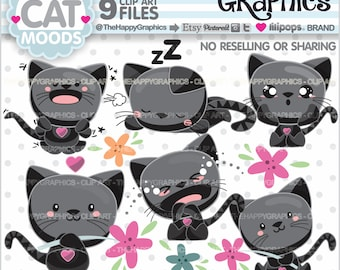 Cat Clipart, 80%OFF, Cat Graphic, COMMERCIAL USE, Black Cat, Mood Clipart, Pet Clipart, Kitten Clip Art, Animal Graphics, Feeling Cliparts