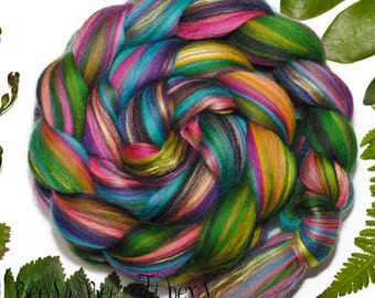 FOREST JEWELS - Custom Blend Merino and Mulberry Silk Combed Top Wool Roving for Spinning or Felting in bright colors -4 oz
