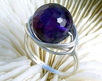 Wire Wrapped Ring,Silver Filled Wire, Wire Ring, Round,Amazingly Faceted, Amethyst Jewelry