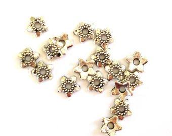 20 bead caps 6mm silver metal flower