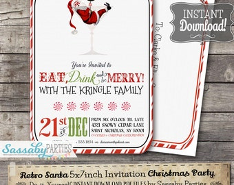 Retro Santa Christmas Cocktail Party Invitation - INSTANT DOWNLOAD - Partially Editable & Printable Xmas Party Invite by Sassaby Parties
