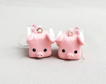 Pink Flying Pig Earrings Polymer Clay Jewelry