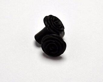 Rose Flower Ear Gauge Plugs (8g) - Arang Wood