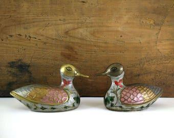 Vintage Enameled Brass Ducks