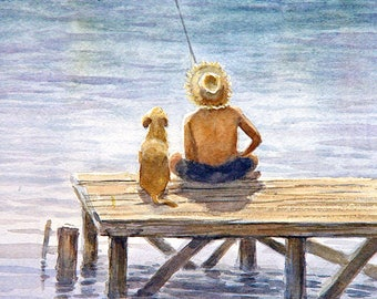 Boy and His Dog Friend Fishing Art print of Watercolor Painting -  Child, Pet, Boy's Room, Friendship, childhood, Companion