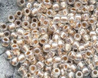 3/0 Gold Lined Crystal Toho Seed Beads - 18 Grams - 1923 - Color # 3-989 - Gold Lined Crystal Toho 3/0