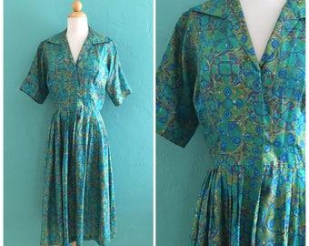 vintage 50's teal print shirt waist dress // 50's spring dress