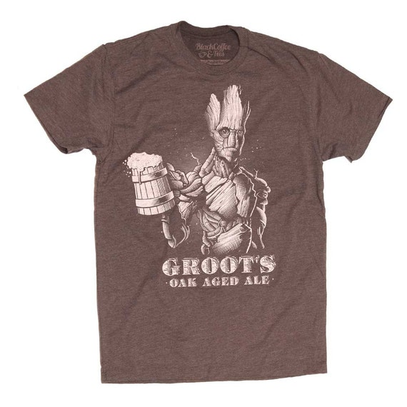 Groot Shirt - Guardians of The Galaxy Groot Mens Shirt - Craft Beer Shirt - Groots Guardians of the Galaxy Oak Aged Ale on a Mens T Shirt