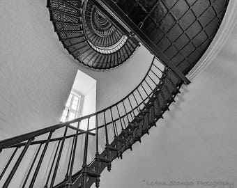 Bodie Island,Lighthouse,Window,OBX,North Carolina,Outer Banks,Black and White,Wall Art,Home Decor,Beach Decor,Staircase,Abstract