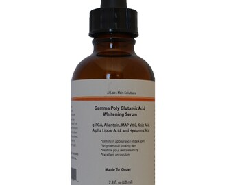 Whitening Serum with Gamma Poly Glutamic Acid, Allantoin, MAP Vitamin C, Kojic Acid, Alpha Lipoic Acid, and Hyaluronic Acid 2.3 oz