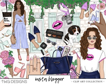 Fashion Blogger Lifestyle Instagram Girl Clip Art Watercolor Clipart PNG Style Style Flowers Lips Hand Drawn Planner Sticker Graphics Scene