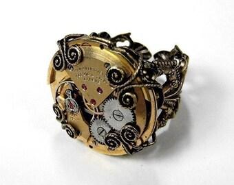 Steampunk Jewelry Steampunk Mens Ring Vintage Gold Ruby Jewel RARE Watch Adjustable Birthday Fiancee Gift Men Women - Jewelry by edmdesigns