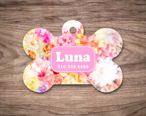 Dog Tags for Dogs Pet Tags Dog Tag for Collar Dog Tag Dog Tags Personalized Dog Tags for Pets Pet ID Tag Dog Floral Custom Dog Tag