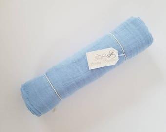 Sky blue muslin blanket. Muslin Swaddle Blanket. Double gauze blanket. X-large blanket