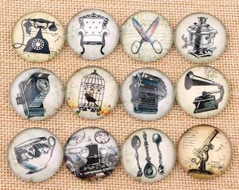 set of 12 vintage 14 mm cabochons