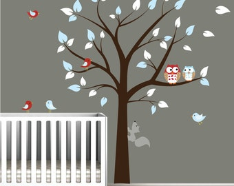 Children Vinyl Wall Decal Nursery Tree Wall Stickers with Owls,Birds and Squirrel