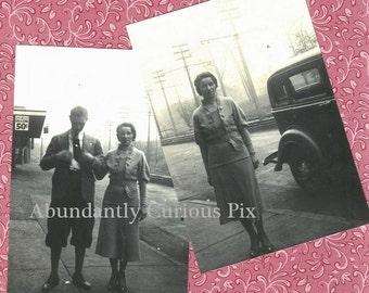 2 Krieg Ära Mode Fotos, besser als das original Vintage Snapshot-Fotos, Oldtimer, Gleisen