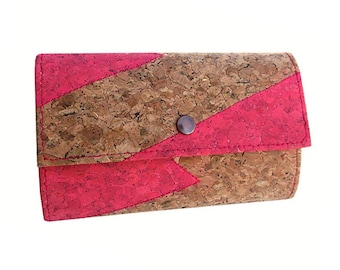 Card Wallet for Women Cork Pink Wallet Vegan Gift For Woman Cool Gift for Girls