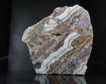 Polished agate with amethyst from Australia, multicolour agate specimen, #PO21