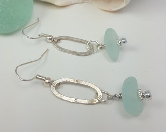 Sea Glass Jewelry Sea Glass Earrings Aqua Sea Glass Earrings Sea Glass Jewelry E-246