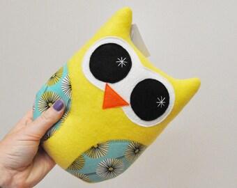 Yellow Plush Owl With Retro Starburst - READY TO SHIP