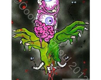 """Fleur de lis art, The Original Zombie Fleur de Lis horror guts eyeball bones cajun culture original art print 11x17"""""""