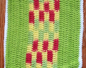"""CLEARANCE - Eco Friendly 100% Cotton hand-crocheted 8"""" x 8"""" washcloth/dishcloth/dishrag - Lime Green/Yellow/Red"""
