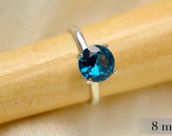 Blue Zircon Ring, Sterling Silver Solitaire with Blue Zircon Gemstone, Bridesmaids Gifts, December Birthstone