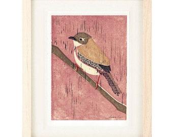 HOUSE WREN Pink Poster Size Linocut Reproduction Art Print: 8 x 10, 9 x 12, 11 x 14 or 12 x 16