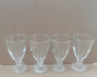 Set of 4 candlewick Imperial Glass 3 oz juice glasses