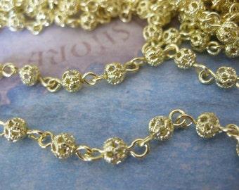 1Ft Raw Brass Filigree Bead Chain - 4mm Bead