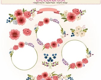 ON SALE Flowers clipart, floral clipart,. Botanical clipart, wedding frame clipart,rose pink flowers, INSTANT Download