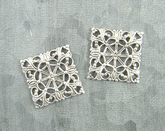 Antiqued Silver Filigree, Square Filigree, Brass Filigree, Cabochon Wrap, Brass Connector, 20mm - 4 pcs. (sl112)