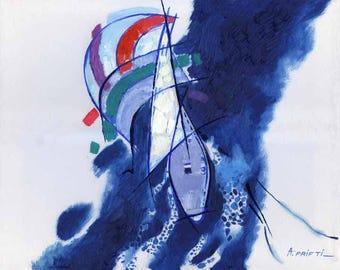 Print of Oil LANDSCAPE, sailboats oil painting, sea painting, boats fine art prints, nautical print, sailboats ocean art, seascape print