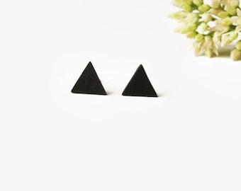Black Stud Earrings - Black Triangle Earrings