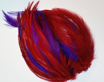 MULTI COLOR Feather Pads, Rooster Hackle Pads, Red and Purple