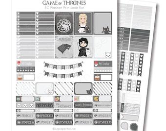 Erin Condren Game of Thrones Printable Planner Sticker Set, Erin Condren Life Planner, Instant Download