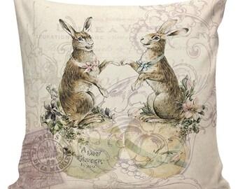 Easter Pillow, Easter Pillow Cover, Easter Rabbits, Bunny, Feedsack Stripe, Cotton, Spring Throw Pillow Cover. #SP0206 Elliott Heath Designs