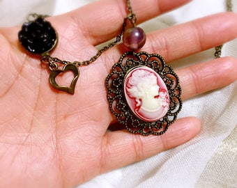 Inspired by Vampire Diaries white red cameo necklace