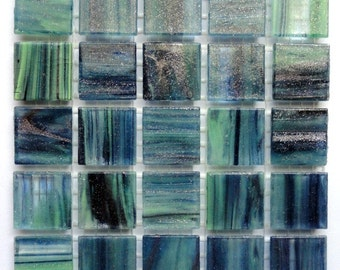 "20mm (3/4"") Blue Green Gold Semi-Transparent MARBLED BEVELED Glass Mosaic Tiles//Mosaic Supplies//Mosaic//Crafts"