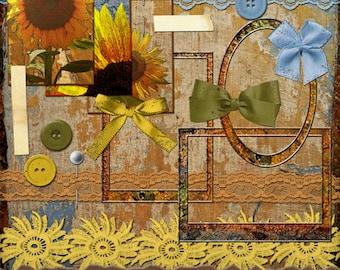 Sunflower Summer Digital Scrapbooking Kit - Vintage Digital Paper Crafts - Sunflowers - for Digital Scrapbooking Journaling & Paper Crafts