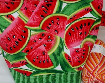 Zipper Project Bag, Watermelon Galore, Rind, Seedless, Summer Inspired Knitting Bag, Large Size Shawl to Sweater Wedge Tote Bag
