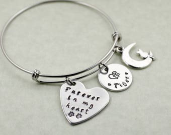 Personalized Pet Memorial Bracelet - Engraved Sympathy Gift - Remembrance Jewelry - Forever in my Heart - Charm Bracelet - Cat Loss Dog Loss