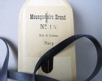 Antique narrow velvet ribbon silk and cotton navy blue one quarter inch width P065
